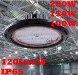 極度の明るい120lm/W 200W 100W 150W LED低い湾ライト5年の保証薄暗くする1-10年