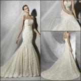 Trägerlose Hochzeits-Kleid-Nixe-Spitze-Brautkleid Ya0116