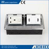 IP44 imprägniern Aluminium verdoppeln knallen oben Anschluss USB-Daten der Fußboden-Kontaktbuchse-Kasten-und Schreibtisch-Kontaktbuchse-13A