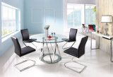 Conjuntos superiores de cristal claros redondos modernos del vector de cena con 4 sillas negras