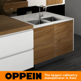 Modules de cuisine en bois de PVC de modèle moderne de Tout-Île d'Oppein (OP16-PVC02)