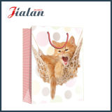 광택 있는 박판으로 만들어진 광택지 고양이 그림 쇼핑 선물 종이 봉지