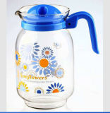 Sale chaud 1.5L Glass Water Pitcher, Juice Jug avec Customized Decal Flower