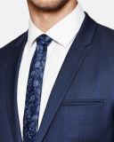 Moderner Art-Mann-blauer Check-formale Geschäfts-Mantel-kurze Hose Suit