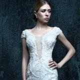 Real Photo Appliques Zipper Wedding Dress (ZXB-30)