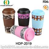 Doppel-wandiger Plastikbecher für heißen Kaffee mit Hülse (HDP-2019)