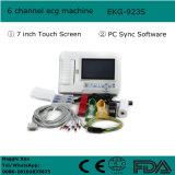 O ISO do Ce Certificate 7 a máquina EKG-923s do electrocardiógrafo ECG de Digitas da canaleta da tela de toque 6 da polegada com Software-Maggie da análise