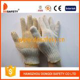Luva pontilhada PVC branca natural feita malha Dkp105 do amarelo da luva do algodão