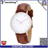 O relógio de pulso magro o mais novo dos homens Yxl-645 com faixa e caso de couro de Rosegold