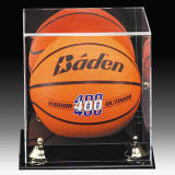 Cube en affichage de boule de basket-ball et de football, vitrine acrylique du football - base noire