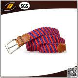 Cinghia elastica della tessitura delle donne di modo di alta qualità dell'OEM con l'estremità di cuoio reale