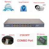 16 Kanal 10/100m Poe Switch mit 2 Tx/SFP Combo (TS2016F-180)