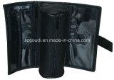Saco de coleção cosmético dobrado redondo de couro preto do anel do plutônio