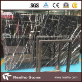 Черный каменный сляб Nero Marquina мраморный с белыми венами