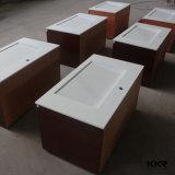 Lavabo en pierre artificiel blanc de partie supérieure du comptoir de salle de bains (B1610246)