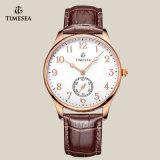 Relógio de pulso clássico do couro do Mens com movimento 72154 de quartzo