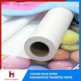 44 '', papier de roulis de la sublimation 100GSM/roulis collant/visqueux lourd de papier de transfert de sublimation pour des vêtements de sport