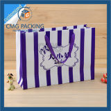 Striped Paper Bag с Purple Stripes Printing (CMG-MAY-039)