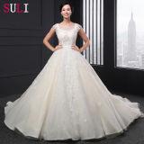 Champagen luxuoso A - a linha laço do tanque Appliques o vestido da princesa casamento (SL006)
