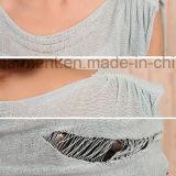 Frauen gebrochener Ineinander greifen-Sleeveless langer Pullover
