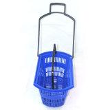 Cesta de compra plástica do rolamento do supermercado com quatro rodas Zc-9