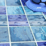 "4 "" x4 "" Wave Pattern Porcelain Swimming Pool Tile Blue (BCP004)"