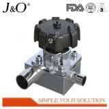 Válvula de diafragma sanitária do redutor de 3 maneiras do aço inoxidável