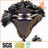 Акриловый & искусственний шлем шерсти связанный Jacquarded с Earflaps и оплетками
