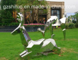 Абстрактная статуя оленей металла, напольный орнамент скульптуры нержавеющей стали сада