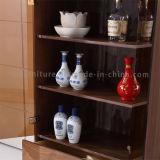 Porta de vidro do retângulo dos pés do aço inoxidável com o gabinete de madeira do vinho das gavetas