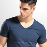 Sleeves klassischer V Ansatz-Kurzschluss der Mann-T-Shirt