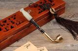 &#160 ; Pipe de fumage collectable de vieille de travail manuel de vert de jade pipe de marqueterie