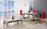 Un rectángulo seis silla y mesa de comedor de vidrio para muebles