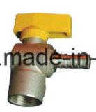 Cuerda de rosca vávula de bola de cobre amarillo del gas del codo de 90 grados con la maneta de acero