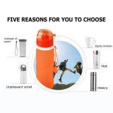 Approvati dalla FDA, BPA liberano la bottiglia pieghevole pieghevole per lo sport, esterna, corsa di sport della perdita del silicone della prova della perdita del silicone pieghevole della prova, accampandosi, arrampicandosi
