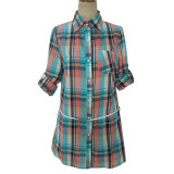 (81191) - рубашка кожаный пояса кофточки проверки втулки повелительниц вскользь длинняя