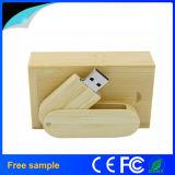 회전대 포장 상자를 가진 대나무 나무로 되는 USB 섬광 드라이브
