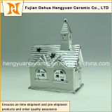 Ione Plating House Shape Ceramic Chimney per Christmas Decoration, (Home Decoration)
