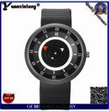 El cuero de lujo futurista de la alineada de las mujeres de los hombres de la marca de fábrica del estilo de la rotura Yxl-889 2016 mira el reloj unisex del cuarzo del reloj ocasional de la manera de los hombres del reloj de la hora