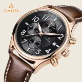 La mano del cuarzo del cuero del reloj de los deportes del Mens de Timesea mira 72252
