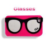 Caixa branca do telefone do silicone da lente dos vidros cor-de-rosa do quadro para o iPhone 6 positivo (XSP-003)