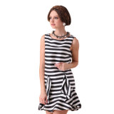 100%Polyester Stripe Women Dress per Youne/MID-Age Lady Clothing Summer