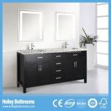 Muebles clásicos excelentes del cuarto de baño del roble del estilo americano con dos lavabos (BV162W)