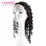 Human por atacado Hair Natural Black Curly Hand - Lace feito Wig