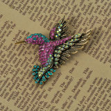 Brooch chapeado do pássaro da fantasia do Rhinestone prata colorida