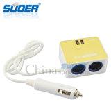 Nuevo alumbrador del cigarrillo del coche de 2 socketes del USB 2 de Suoer con la mejor calidad (SE-CS22)