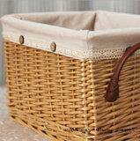 Cloth.를 가진 큰 Quadrate Handle Storage Wicker Basket