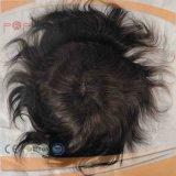 Perruque avant de Toupee de Hairpiece de Mens de lacet attachée pleine par main de cheveux humains