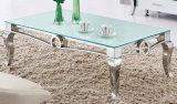 Tavolino da salotto superiore di vetro moderno con acciaio inossidabile