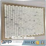 Mosaico de mármore branco de pedra da forma redonda da natureza para a telha do banheiro
